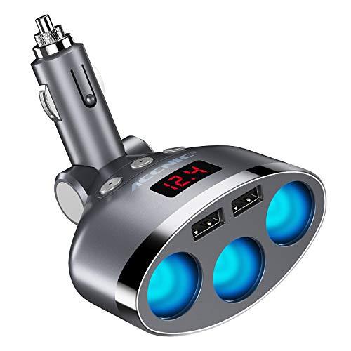 Merisny Zigarettenanzünder-Adapter, 3-Fach Auto-Splitter mit 3,4 A Dual-USB-Port 120 W Autoladegerät Netzteil für iPhone iPad, Android Samsung, GPS, Dashcam, Navigationsgerät, Tomtom und mehr - Dashcam-netzteil