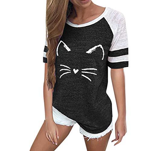 OVERDOSE Mode Damen Frauen Rundhals Lange Hülsen Spleiß Blusen Oberseiten Kleidung T-Shirt Tops Pullover (XXL, A-Kurzarm-t-schwarz) (Lace Bandeau Trim)