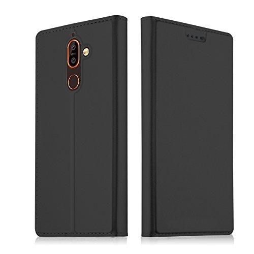 Nokia 7 Plus Hülle, BasicStock Premium PU Leder Handyhülle [Standfunktion] [1 Kartenfach] [Magnetverschluss] Ultra Dünn Flip Klapphülle Holster, Nokia 7 Plus Case Cover, Slim Ledertasche Schutzhülle für Nokia 7 Plus (Schwarz)
