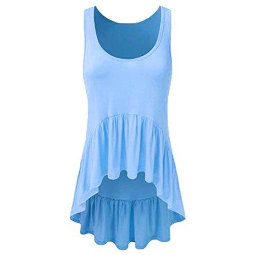 OSYARD Damen Lässige ärmellose O-Neck Rüschen Unregelmäßige Hem Tunika Tank Top Bluse(EU 42/M, Blau)