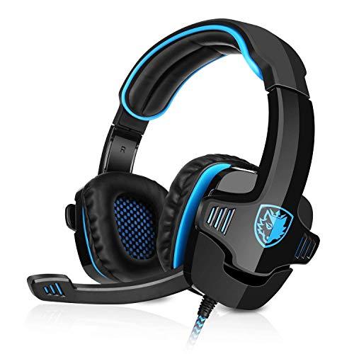 SADES SA-901 Gaming Headset USB Headset 7.1CH Surround Sound Stereo PC Gaming Kopfhörer mit Mikrofon Blau+Schwarz Verpackung MEHRWEG -