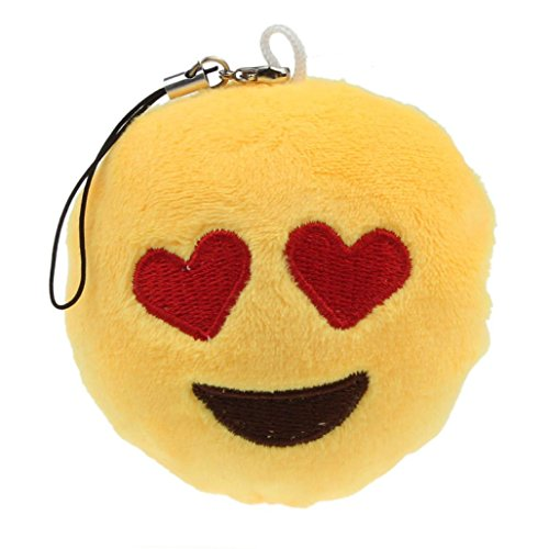 Ouneed® emoji emoticon cuore occhi key chain peluche regalo accessory bag pendant (giallo a)