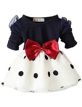 Arrowhunt Baby Mädchen Langarm Bowknot Polka Dots Organza Kleider ( für 3-24 Monate )