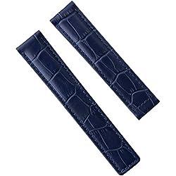 Echtes Leder Uhrenarmband, Blau Alligatorprägung, für TAG Heuer, 19/18 mm