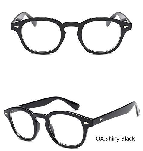 YJKHKL Nerd Mode Johnny Depp Sonnenbrille Männer Stil Runden Farbton Ozean Objektiv Markendesigner Party Show Sonnenbrille Frauen Blau NietOptisch Glänzend Schwarz