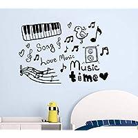 2 Unids Pegatinas De Pared Sketch Música Instrumentos Musicales Canciones De Amor Adorables Vinilo Tatuajes De