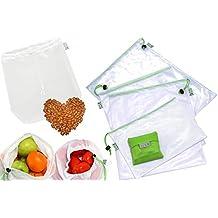 Set de 9 Bolsas de Malla Reutilizables + 1 Bolsa Plegable de Compra Extra, Ecológicas