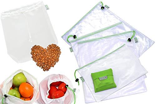 Gemüsebeutel,1 Nussmilchbeutel Filter aus Nylon, Passiertuch, 1 Faltbare Einkaufstasche, Aufbewahrungsbeutel mit Kordelzug, Wiederverwendbar, aus Netzstoff, Wäschenetz ()
