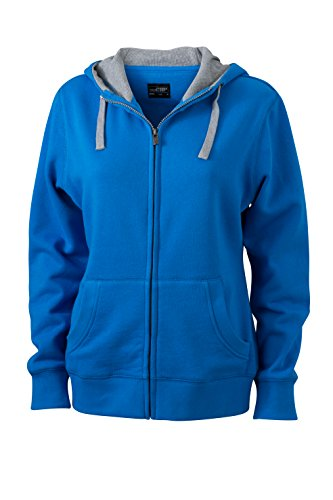 James & Nicholson Veste lifestyle Zip à Capuche Sport Sweatshirts Bleu cobalt/gris chiné