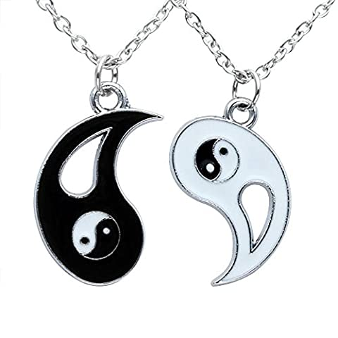 Contever® 1 Set of 2pcs Men Women Couples Friendship Alloy Yin Yang Tai Chi Pendant Necklace Set, Chain Length:45 CM