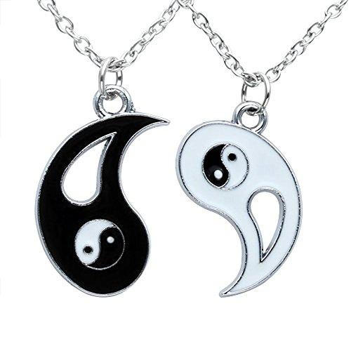 Contever® 1 Set di 2pcs Uomini Donne Coppie Amicizia Yin e Yang Tai Chi Set Collana del Pendente Ciondolo, Catena di lunghezza: 45 CM