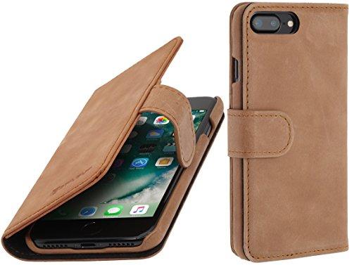 StilGut Talis Schutz-Hülle für iPhone 8 Plus & iPhone 7 Plus (5,5 Zoll) mit Kreditkarten-Fächern aus echtem Leder, Cognac Vintage Cognac Vintage