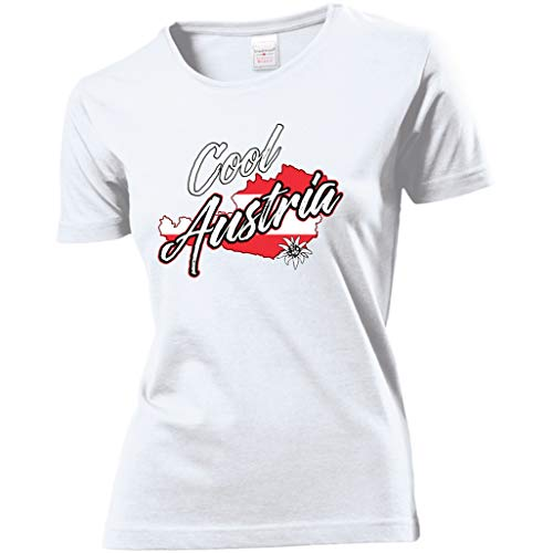 Damen Lady T-Shirt - Österreich - Cool Austria (Weiß, S)