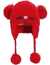 679cc3a5a9e Sunsoar Cute Baby Girls Boys Cat Print Cap Knitted Fleece Ears Protector Warm  Hats