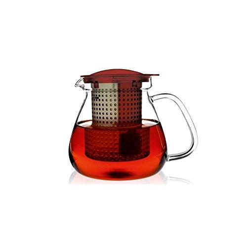 FINUM – Cannette/théière + filtre Tea Control rouge – 1 litre