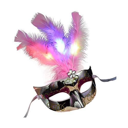 DULEE 2 Pack Halloween Maske LED Beleuchtung Feder Maske Purge Mask für Cosplay Festival Party Halloween Kostüm Erwachsene,Weiß