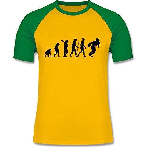 Evolution - Football Evolution - zweifarbiges Baseballshirt für Männer Gelb/Grün