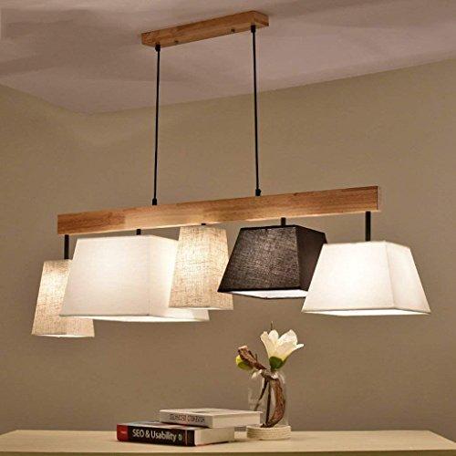 Platz Pendelleuchte Klassisch Stoff Lampenschirm 5-Flammig Gute Qualität Höhenverstellbar Hängeleuchte Modern Design Wohnzimmer Esszimmer Schlafzimmer Hängelampe E27 Sockel L118cm * W30cm