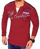 Herren Langarm Shirt Longsleeve Sweatshirt T-Shirt Vintage (L-XL, Bordeaux (L.1.11 0659))