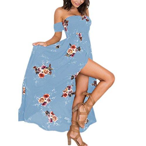 SANFASHION Sommer Frauen Boho Schulterfrei Blumenkleid Damen Langes Maxikleid (5XL, Blau)