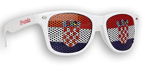 1 x Fanbrille Kroatien - Croatia - Hrvatska - Sonnenbrille - Brille Hrvatska - Weiß - Fan Artikel