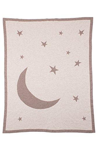 Love Cashmere Lune et Étoiles Couverture Emmaillotée en 100% Cachemire - Naturel - Fait main à Écosse par