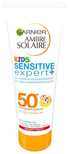 Garnier Ambre Solaire Kids Sensitive expert+ Sonnenmilch, mit LSF 50+, speziell für Kinder, zieht schnell ein, extra wasserfest, 200 ml