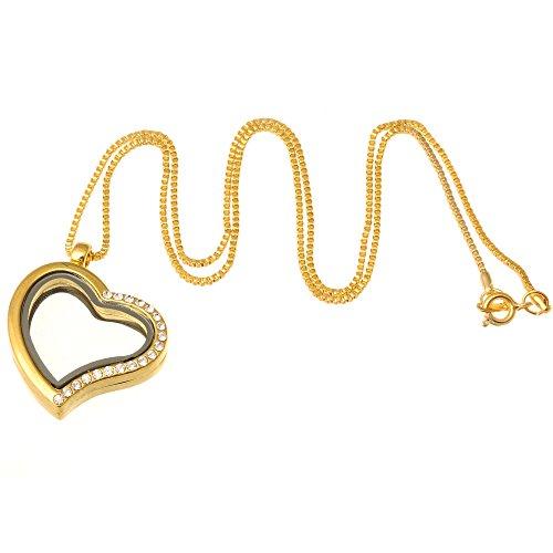 Art Glass Mini-anhänger (rubyca Living Memory Floating Charm Herz Glas Medaillon Anhänger und Halsketten 50,8cm, glas, gold, 5)