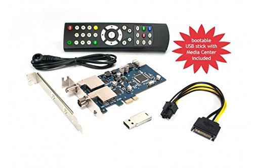 DVBSky T9580 V2 PCIe Karte mit 1x DVB-S2 und 1x DVB-T2 / DVB-C Tuner, keine CD stattdessen partitionierter USB Stick mit Windows Software inklusive bootfähigem Linux Media Center