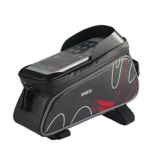 Sddlng Bolsa de Bicicleta Negra, Bolsillo Delantero con Pantalla táctil, Monedero Impermeable, Soporte para Bicicleta de 5.7 Pulgadas para el teléfono móvil, para el teléfono móvil de 5.7 Pulgadas