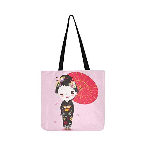 Nette Karikatur Geisha Mit Japan Reise Leinwand Tote Handtasche Umhängetasche Crossbody Taschen Geldbörsen Für Männer Und Frauen Einkaufstasche