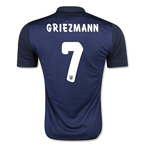2016populaire équipes Atletico Madrid 7Antoine griezmann Away Maillot de Football en bleu marine moyen Bleu roi