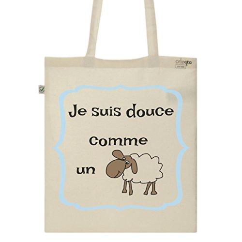 Tote Bag Imprimé Ecru - Toile en coton bio - Douce comme un mouton