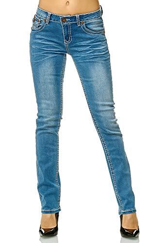 Elara Slim Fit Damen Jeans | Skinny | Jeanshose | Fashion Denim | mit besonderem Design der Nähte | modischer Look und körperbetonter Schnitt | Chunkyrayan | 90-3A Blue 42 Skinny Denim Jean Pants