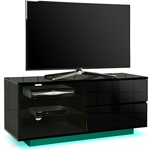 Centurion Supports Gallus Premium schwarz Hochglanz mit 2Schubladen & 3Ablagen aus 66cm-55LED/OLED/LCD TV Schrank mit LED-Lichtern -