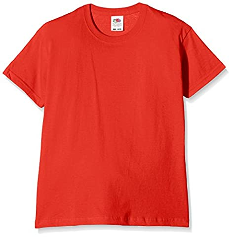 Fruit of the Loom SS132B - T-Shirt - Fille - Rouge - Rouge - 128 Cm, 7-8 Ans