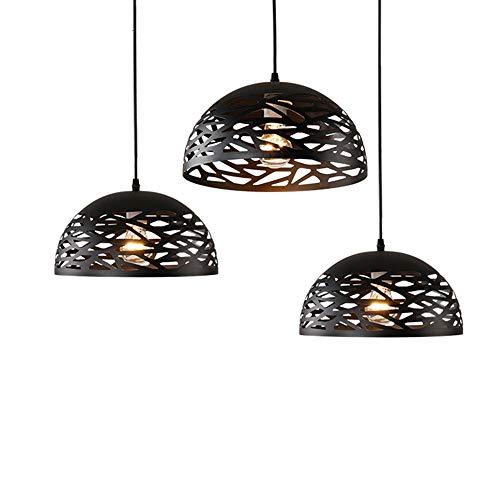 ZRK Einfach und schön DREI Stile 2019 Retro Industrial Style Restaurant Creative Art Engineering Dekorative Lampen Hollow Iron Pot Deckelier,Black