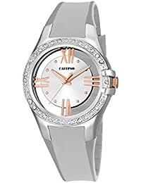 Calypso–Reloj de cuarzo para mujer con correa de plástico de plata esfera analógica pantalla y plateado K5680/1