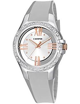Calypso Damen Quarzuhr mit Silber Zifferblatt Analog-Anzeige und Silber Kunststoff Gurt k5680/1