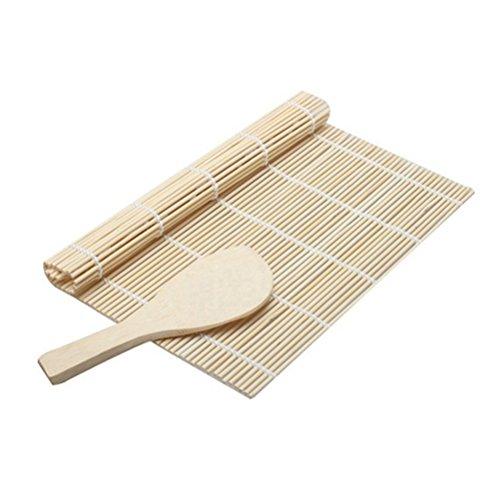 BESTONZON Esterilla de Bamboo para Sushi,incluye 1 tapete de sushi y 1 paleta de arroz