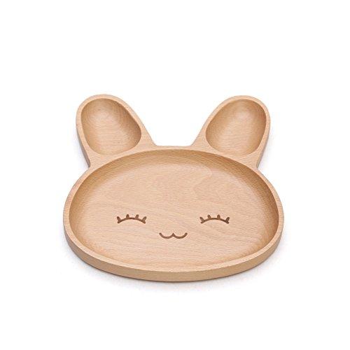 huluwa Speiseteller Baby Teller, Servierplatte Platte für Kinder Kinder Kleinkinder, natürliche Holz umweltfreundlichen Burlywood