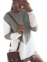 Otoño Invierno Mujeres Suéter Elegante Moda Cuello Redondo Manga Larga Jerséis Pulóver Casual Patchwork Sweater Prendas