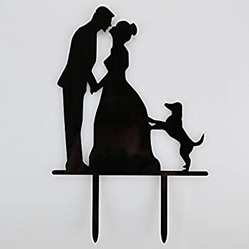 wedding cake topper silhouette with dogs and groom wedding silhouette wedding 26501