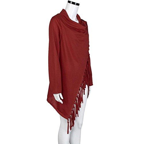 Vovotrade® Mode Femme Manches Longues Décontractées Manches Longues T-shirt Coton Chemisier avec Tassel Rouge
