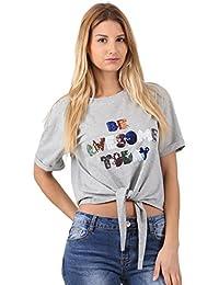 Miss Coquines T-Shirt à Nouer - Femme - Tops et Débardeurs - T-Shirts