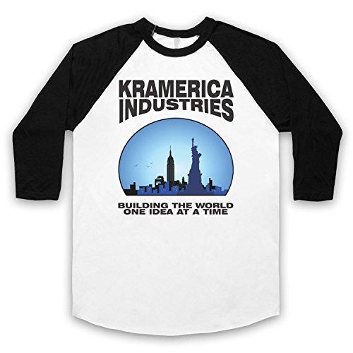 Inspiriert durch Seinfeld Kramerica Unofficial 3/4 Hulse Retro Baseball T-Shirt Weis & Schwarz