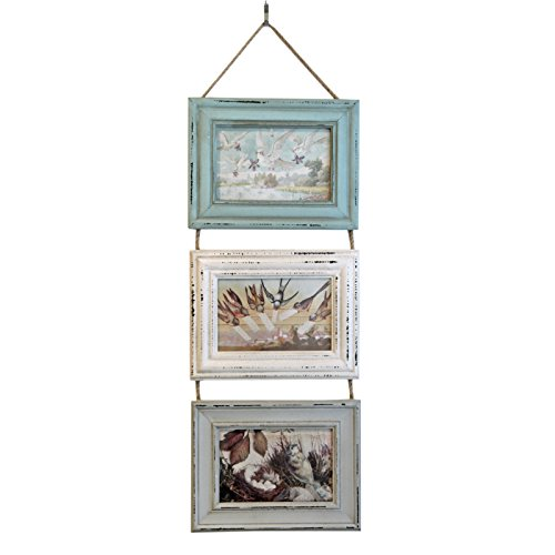 Just Contempo Rustic Hanging Triple Wooden Photo Frame in Distressed Aqua Green Blue & Grey, Madera, Verde, Gris y Azul, 21 x 15 x 5 cm
