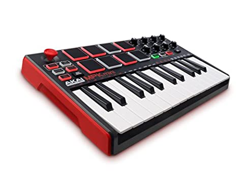 AKAI Professional MPK Mini MKII, Portables 25-Tasten USB MIDI Keyboard mit 16 hintergrundbeleuchteten Performance-Ready Pads, 8 zuweisbare Q-Link Regler und ein Vier-Wege Thumbstick