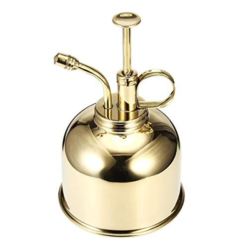 ExcLent 300Ml Mini Brass Home Plant Mister Plunger Flower Water Spray Bottle Potted Spraying Watering Can Decorations - golden