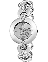 Jack Klein Silver Metal Strap with Shiny Stone Wrist Watch for Women